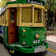 Green street car in Seattle.