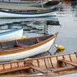 Wooden boats anchored in Seattle, Washington.