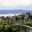 View of Seattle suburbs with Olympic Mountains, Washington.