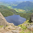 Stickle Tarn seen from the the top of Jack's Rake on Pavey Ark.