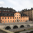 Bridges and buildings in Stockholm.