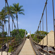 Suspension Bridge to Beach on Kona Island, Hawaii.