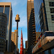 Mono Rail and Sydney Tower in Sydney.
