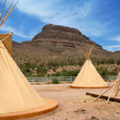 Tepees in the Nevada desert.