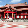 The red Shuri Castle, in Okinawa.