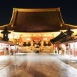 Night view of the Sensoji Temple in Asakusa, Tokyo.