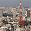 Aerial view of the Tokyo Tower and city.