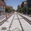 Railway tracks on a street in Toronto.