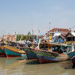 Traditional boats docked near Surabaya.