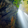 Under a Waterfall in North Carolina.