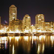 Skyline of Vancouver at night.