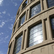 The curved exterior of the Vancouver Public Library.