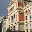 The ornate façade of the Musikverein in Vienna.