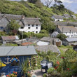 View over Cadgwith village and Port Cornwall.