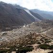 View over the mountain village of Dingboche on the route to Everest.