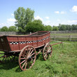 Wagon on rural homestead, Indiana.