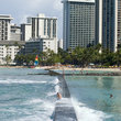 Beach and buildings in Waikiki, Hawaii.