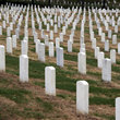 White gravestones in a row on Arlington National Cemetery, Washington.