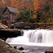 Waterfall at the Glade Creek Grist Mill in West Virginia.