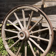 Weathered wagon wheel in Washington.