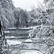 Winter scene on the Winooski River, Vermont.