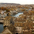 Aerial view over Zurich.