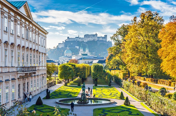 Mirabell Gardens with Hohensalzburg in the background