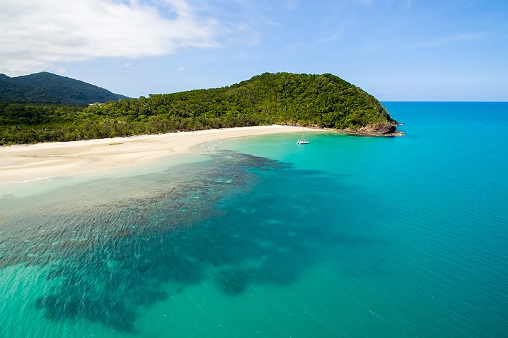 Aerial view of Myall Beach, Cape Tribulation