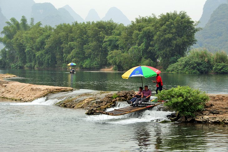 Bamboo raft on the Yulong River
