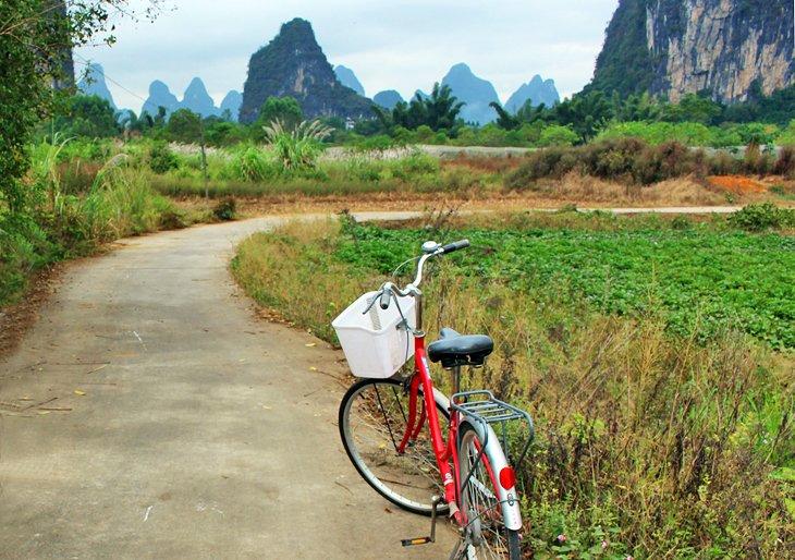 Ciclismo cerca de Camel Crossing the River