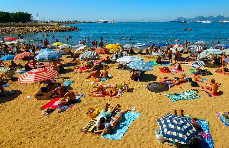 Concurrida playa pública en Cannes