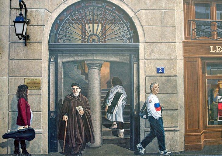 Mural de personajes famosos de Lyon