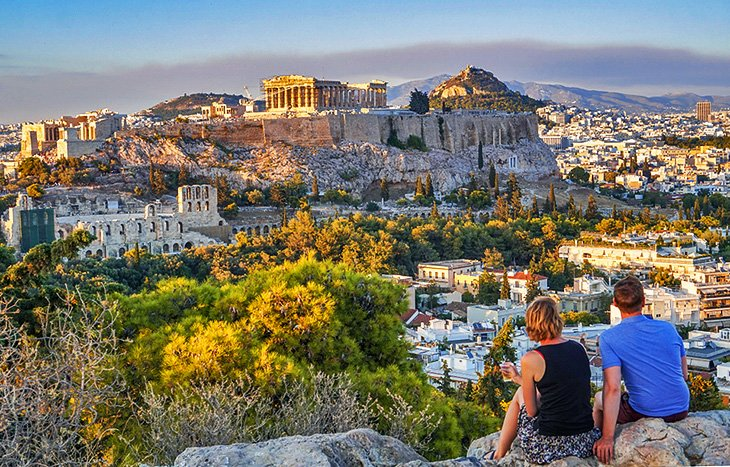 A couple overlooking the Acropolis