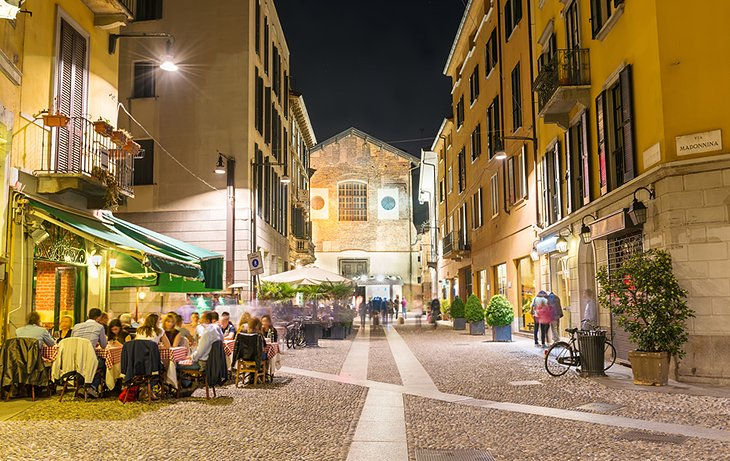 Dining at night in Milan