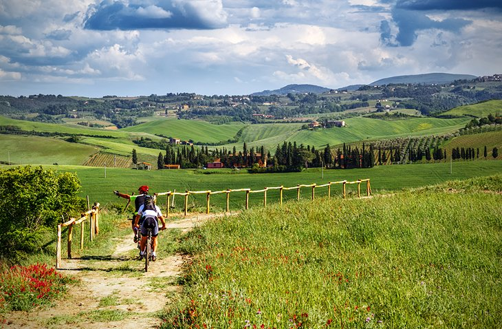 Biking on a trail in Tuscany