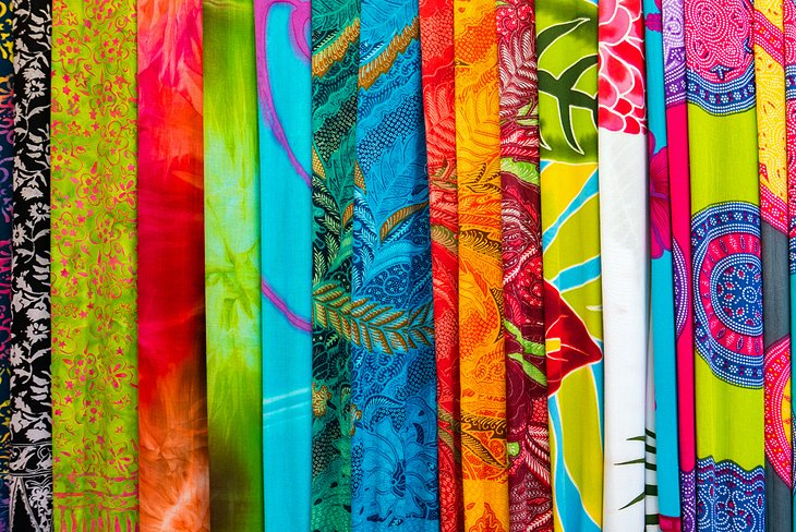 Colorful sarongs at the Ubud Art Market