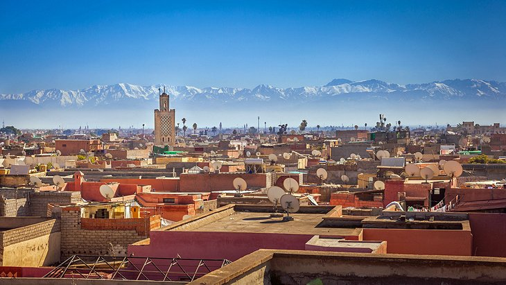 View over Marrakesh to the Atlas Mountains