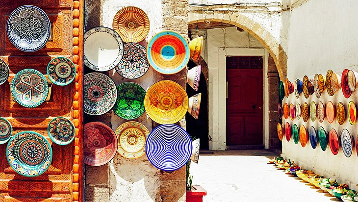 Plates for sale at the market in Marrakesh