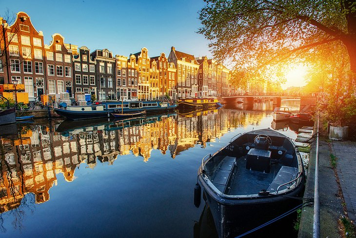 Sunset over an Amsterdam canal