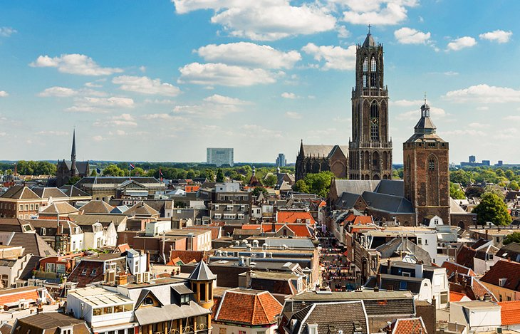 Utrecht cityscape with cathedral tower