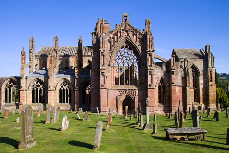 Melrose Abbey and the Eildn Hills