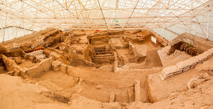 Excavation site under protective dome at Çatalhöyük