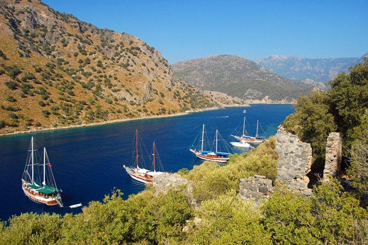 Yachts moored near Fethiye