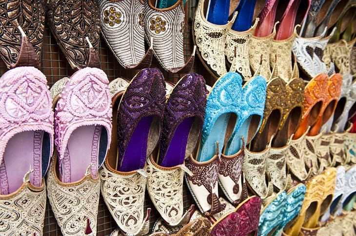 Shoes for sale in a Dubai souk