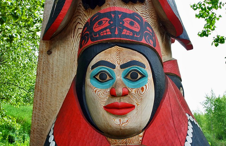 totem pole face at Alaska Native Heritage Center