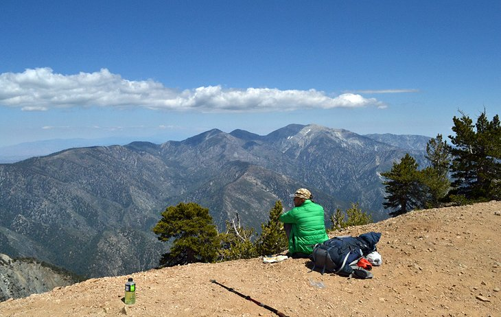 Atop the summit of Mount Baden-Powell with views of Mount Baldy