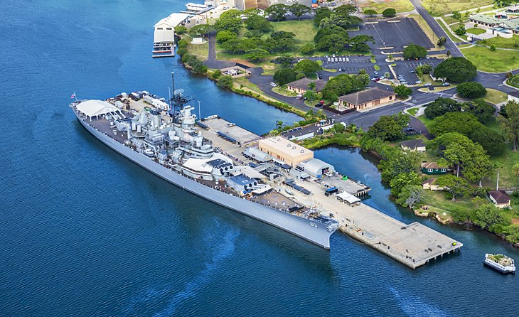 Aerial View of the USS Missouri Battleship in Pearl Harbor