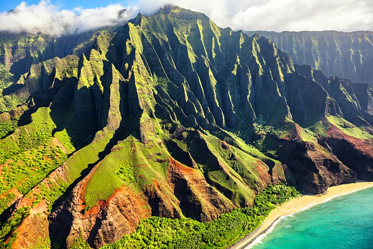 Aerial view of the iconic Na Pali coast on Kauai island