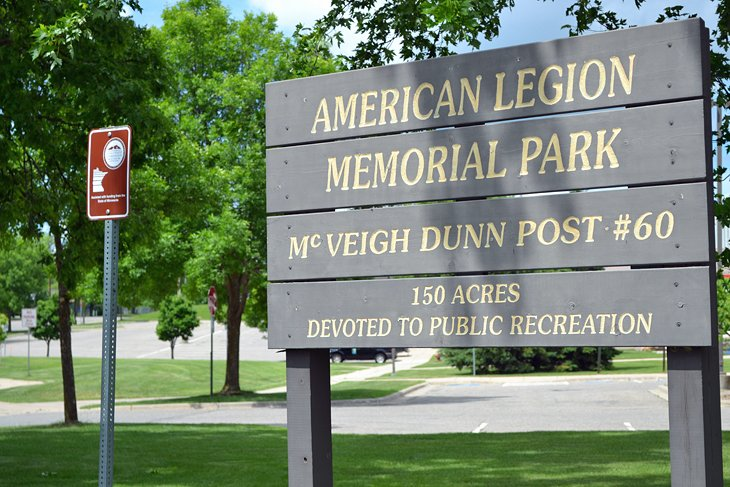 The trail sign in American Legion Memorial Park