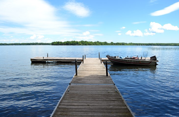 A floating dock on the shores of Mille Lacs Lake near Lakeview Campground
